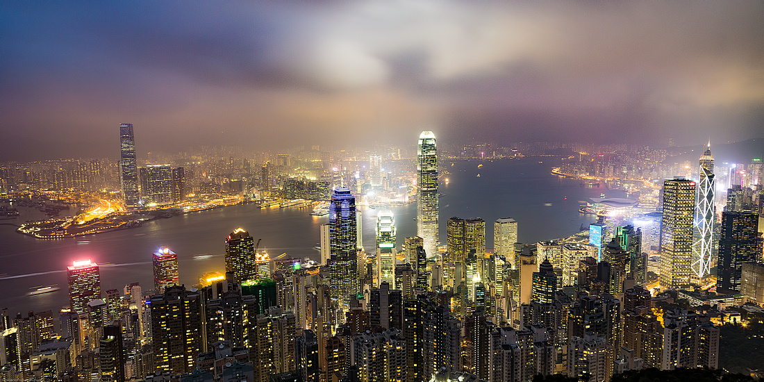 View of Harbor from Victoria Peak, Hong Kong