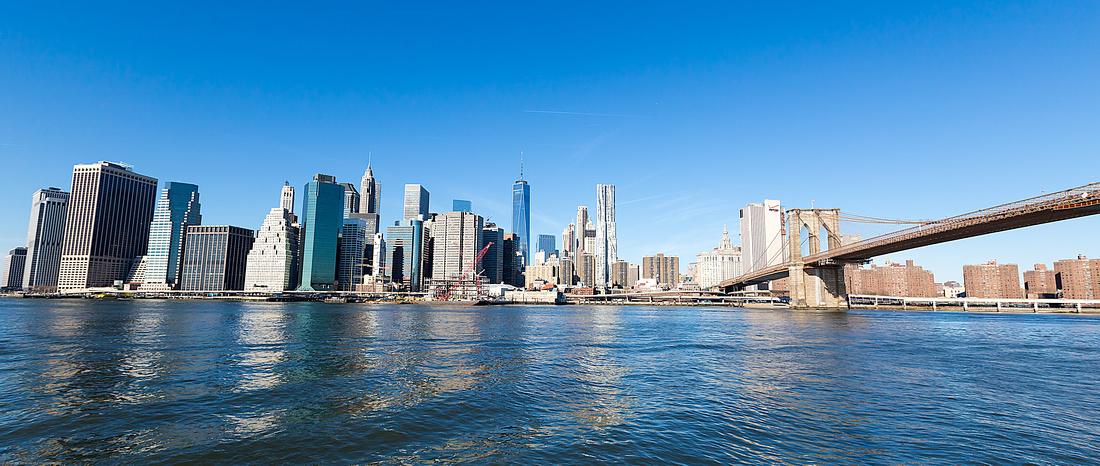 Downtown NYC and the Brooklyn Bridge, viewed from Brooklyn Bridge Park, Pier 2
