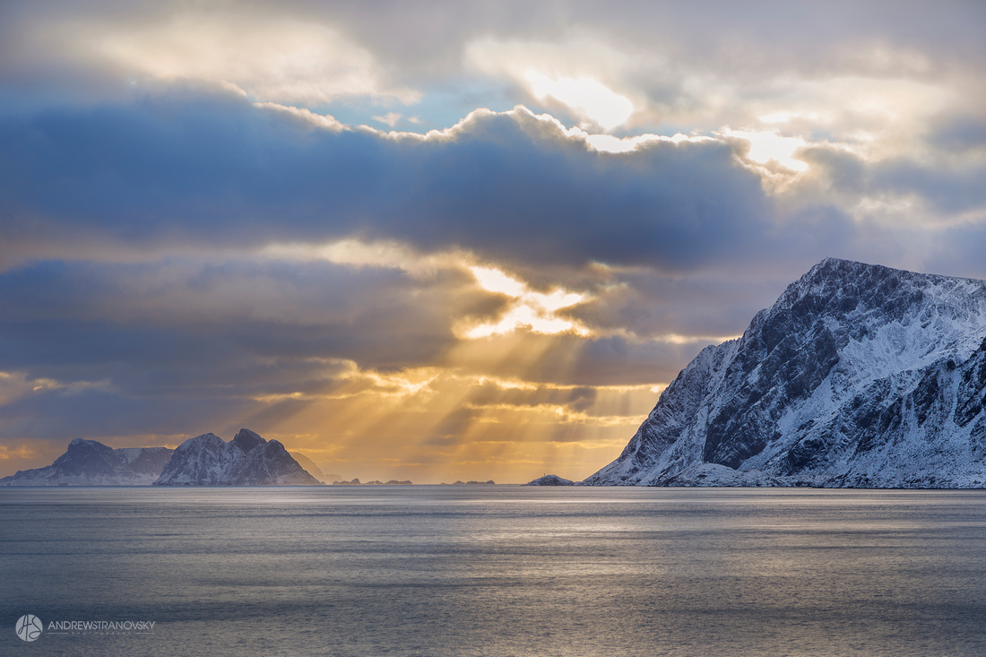 """Sunset in Å, the """"End of the World"""", a small town in Moskenes, the Lofoten Islands, Norway"""