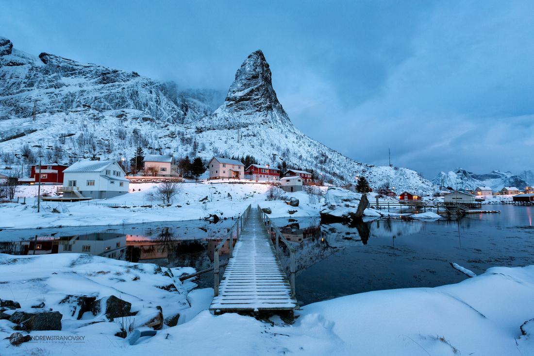 Mountain Peak in Reine, Lofoten Islands, Norway