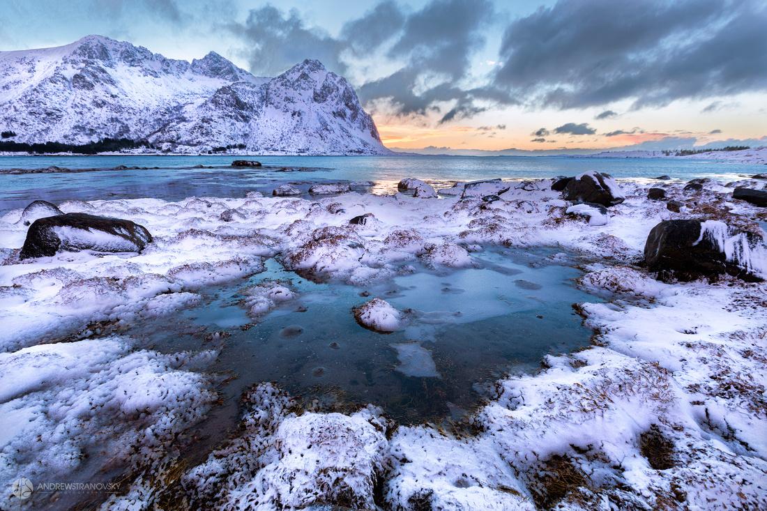 Sunsets over Haukland Beach, Lofoten Islands, Norway
