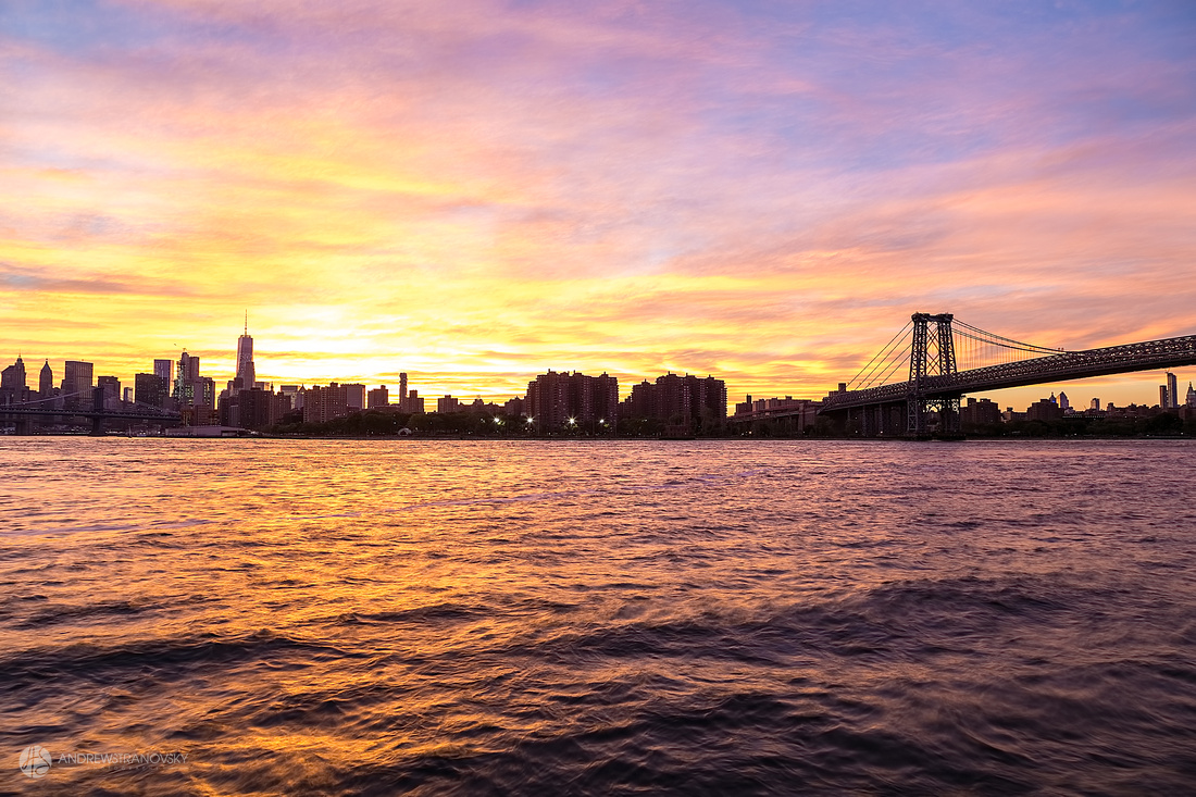 Downtown New York City and the Williamsburg Bridge at Sunset