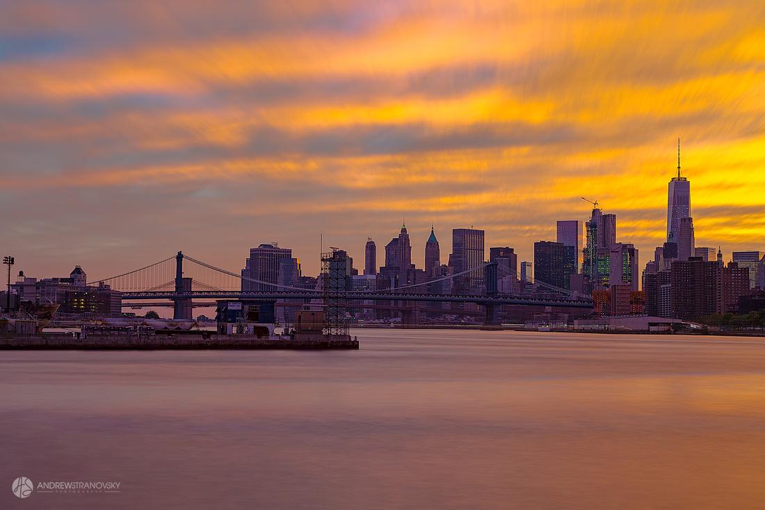 Downtown Manhattan and the Manhattan and Brooklyn Bridges at Sun