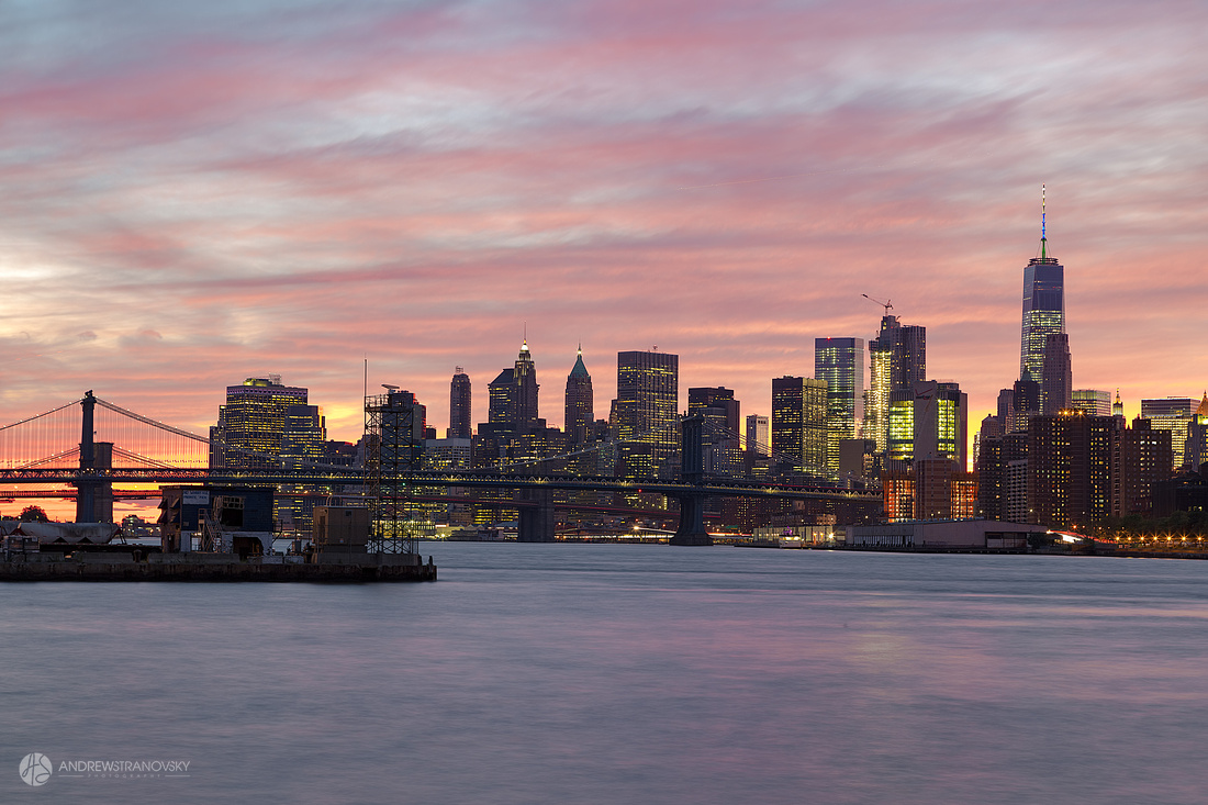 Downtown Manhattan and the Manhattan and Brooklyn Bridges at Sun