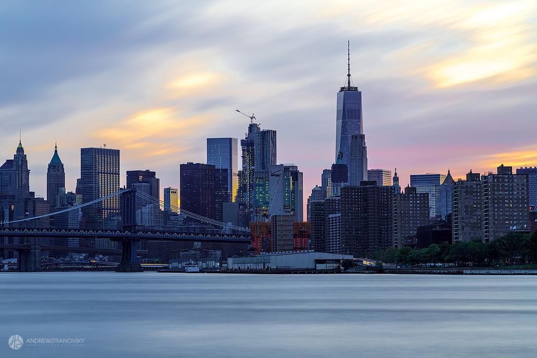 Downtown Manhattan and the Manhattan Bridge at Sunset