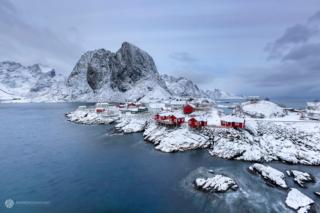 Hamnoy, Norway: A view of the Eliassen Rorbuer cabins from the bridge crossing over to Hamnoy in the Lofoten Islands in Norway.