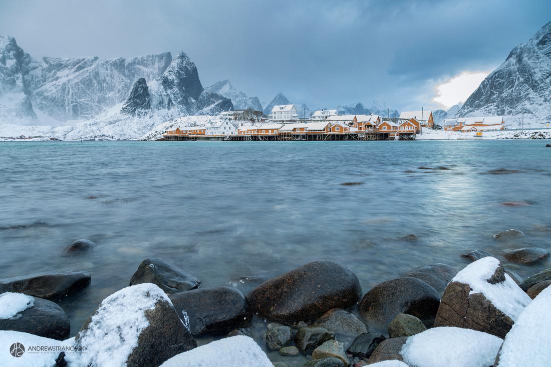 Yellow fishermen cabins of Sakrisoy, in the Lofoten Islands in Norway