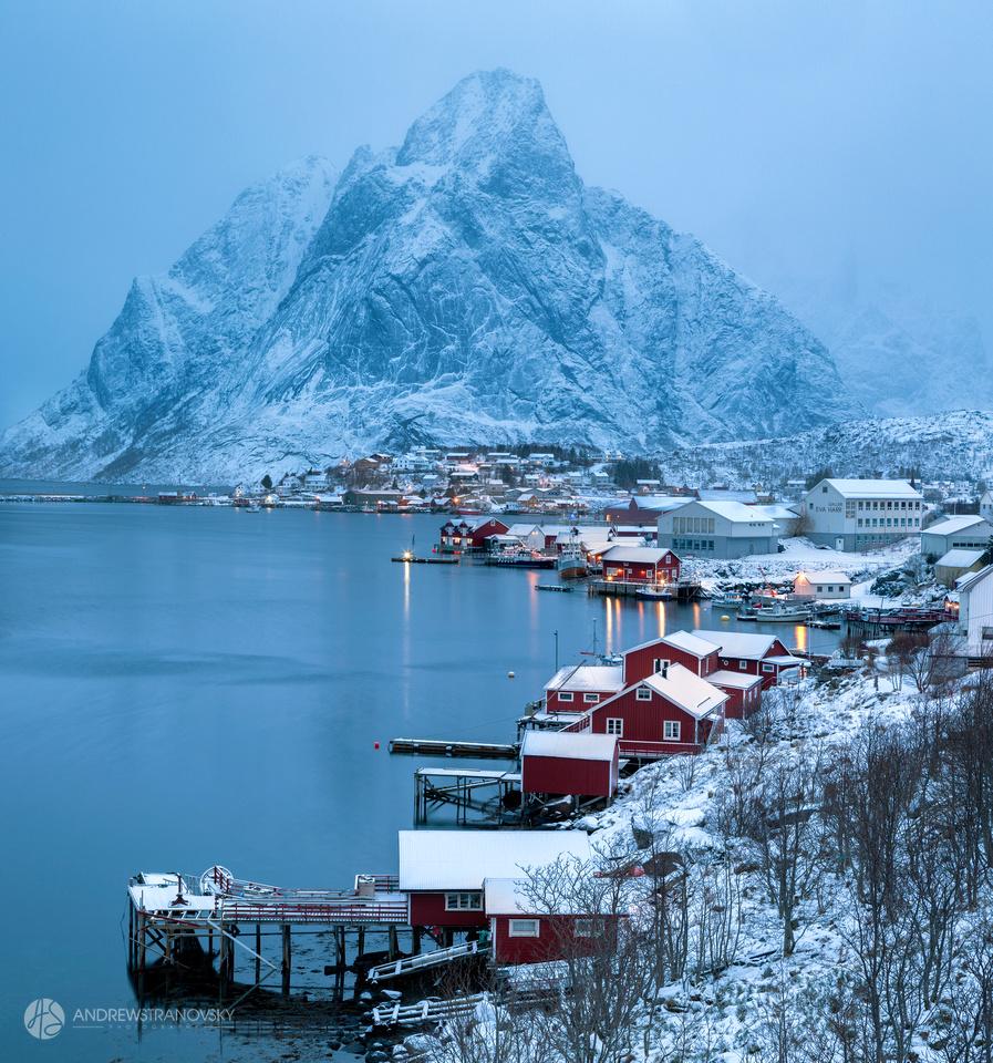 Snowy mornings in Reine, Lofoten Islands, Norway